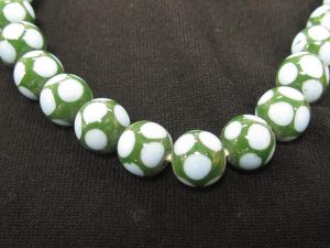 Lampwork Glass Beads Round Jade Green with Sky Blue Dot 9mm