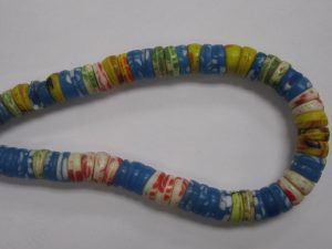 """Blues with White and Red Mix """"Kakamba"""" African Trade Beads"""