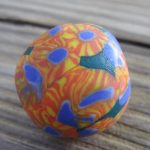 Orange and Blue with Yellow Ancient Design Glass Trade Beads