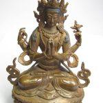 "Tara Hindu Deity Statue Bronze, 6"" tall"