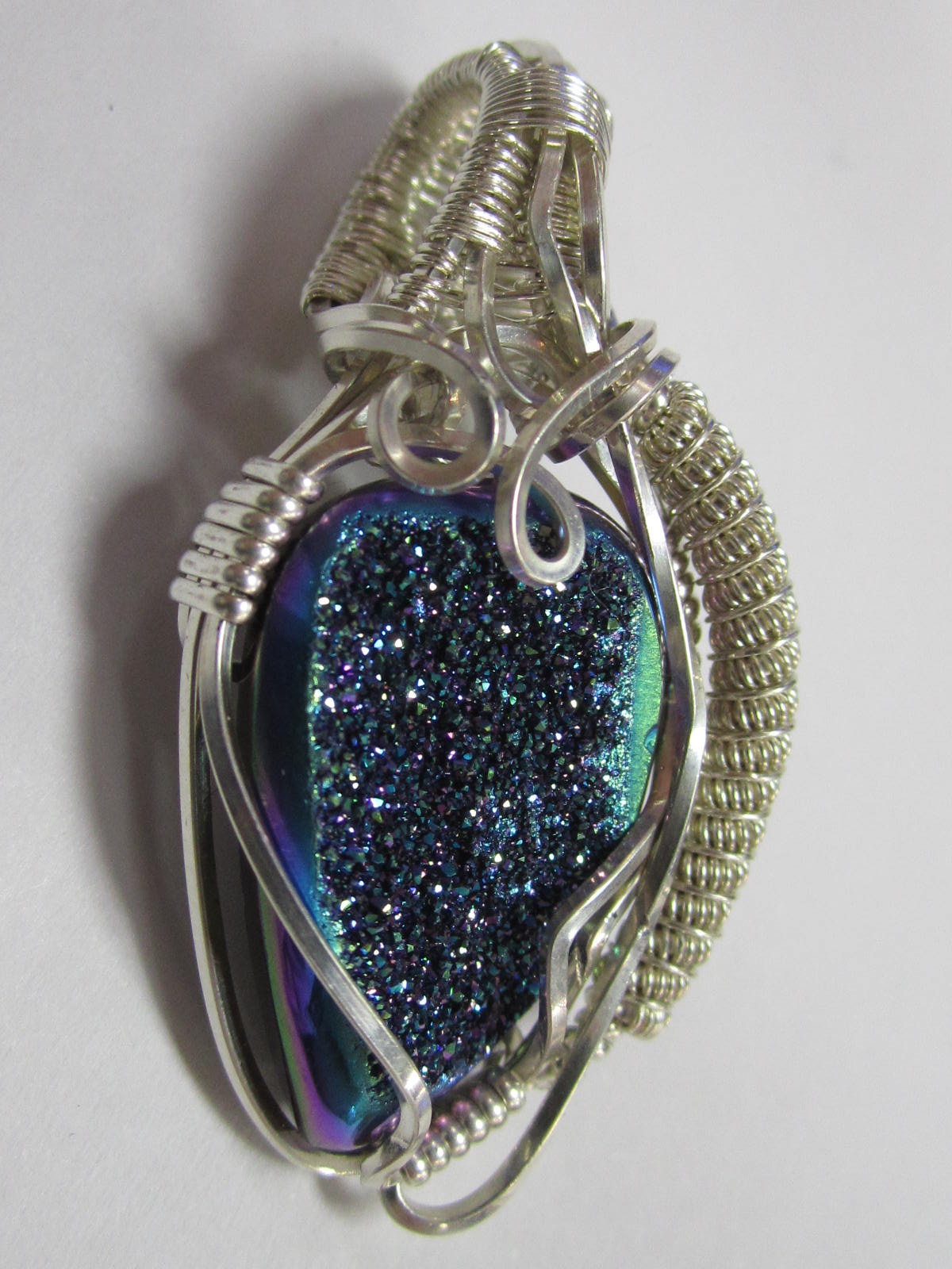 Wire Wrap Pendant Druzy Quartz In Sterling Silver Bead