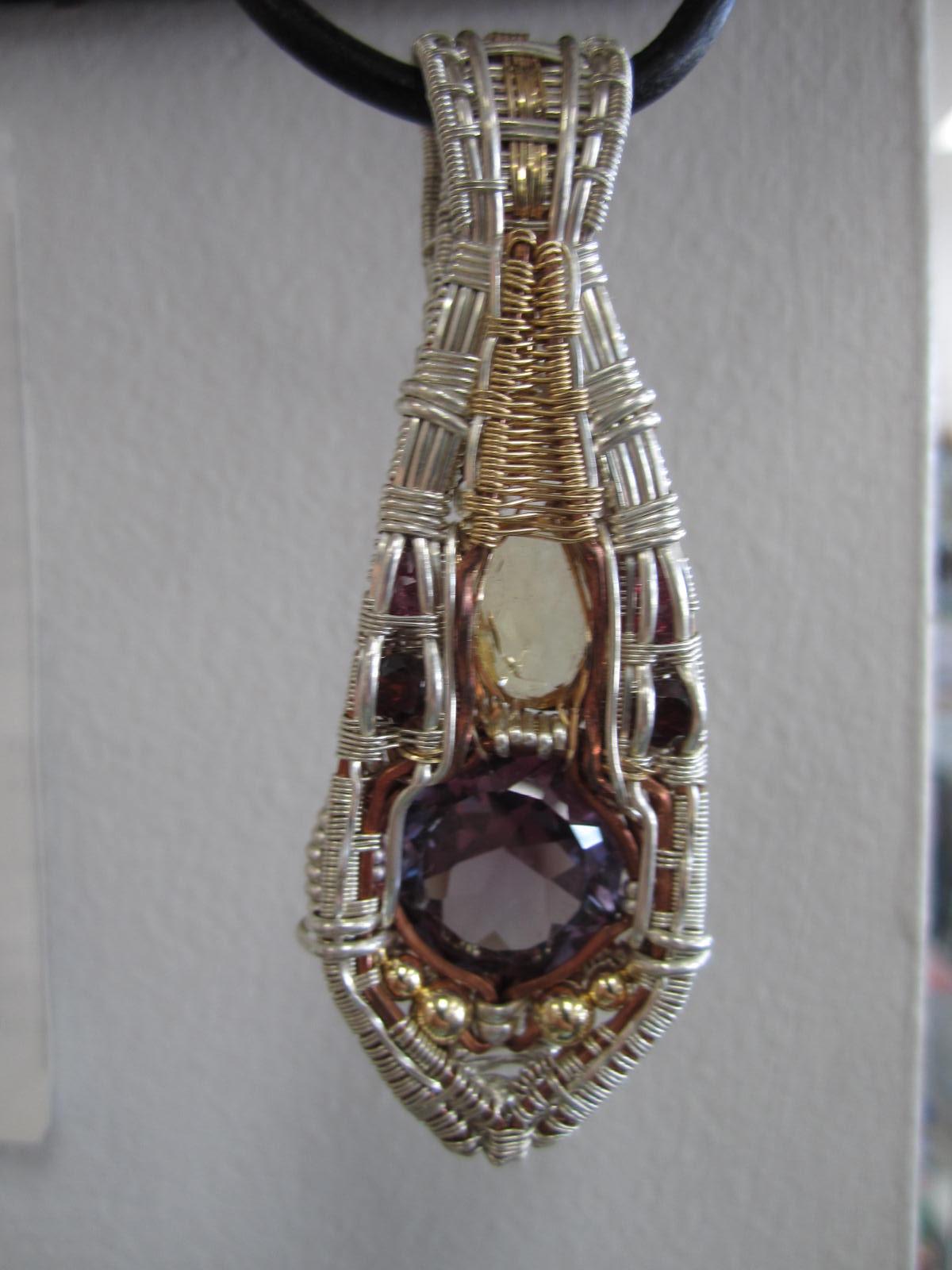 Wire wrap pendant alexandriterubygarnettopaz wire wrap pendant mozeypictures Image collections
