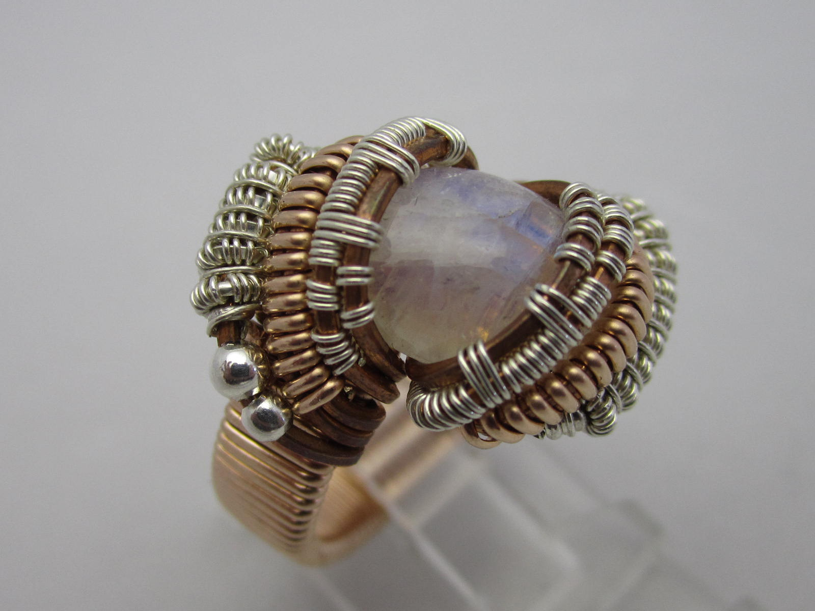 Wire Wrapped Ring in Sterling Silver and Copper. Moonstone . Size 7