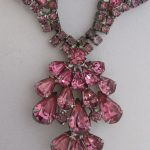 Vintage Rhinestone Jewelry – Rose Pink Necklace BeadWorldBeads.com