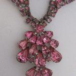 Vintage Rhinestone Jewelry – Rose Pink Necklace BeadWorldBeads.com