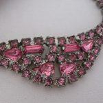 Vintage Rhinestone Jewelry - Rose Pink Necklace