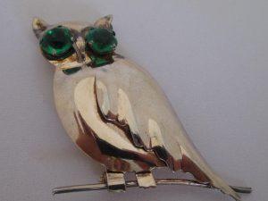 Vintage Rhinestone Jewelry - Sterling Silver OWL Pin