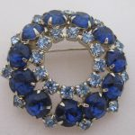 Vintage Rhinestone Jewelry - Blue and Aqua Round Brooch