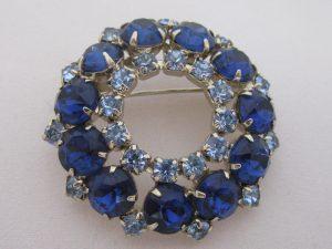 Vintage Rhinestone Jewelry - Blue and Aqua Round Brooch
