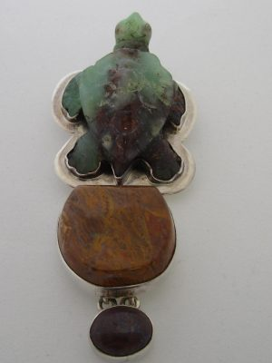 Gemstone Turtle Pendant Chrysoprase, Sterling Silver, Jasper, Boulder Opal