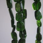Chrome Diopside Beads Flat Nuggets 12mm x 10mm