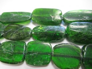 Chrome Diopside Beads Flat Nuggets