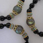 Onyx with Labradorite and Ohm Charm Bracelet