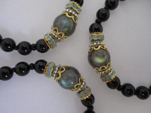 Onyx with Labradorite and Ohm Charm Bracelet