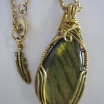 Wire Wrap Pendant - Labradorite in 14k Gold Filled & Brass
