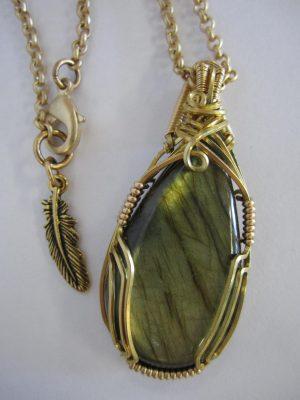 Wire Wrap Pendant - Labradorite in 14k Gold Filled & Brass