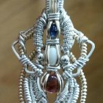 Wire Wrapped Pendant Sapphire, White Opal, Ruby