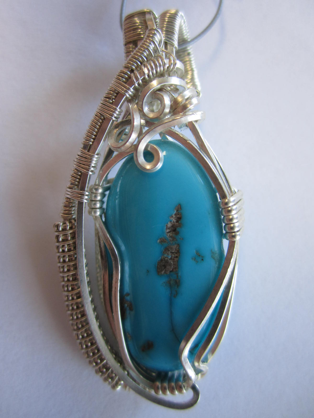 Wire Wrapped Pendant Sleeping Beauty Turquoise Bead World Online Shop