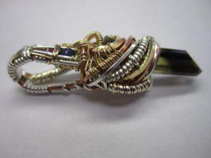 Wire Wrapped Pendant - Smokey Quartz, Sapphire, Ruby
