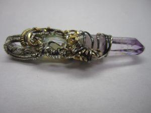 wire wrapped pendant - ethiopianopal, vera cruz amethyst