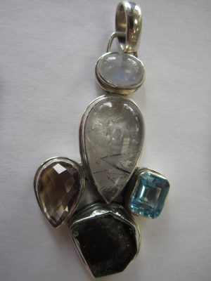Multi Stone Gem Pendant with Sterling Silver