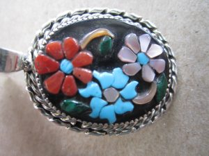 ZUNI Rose Calavaza Inlay Pendant