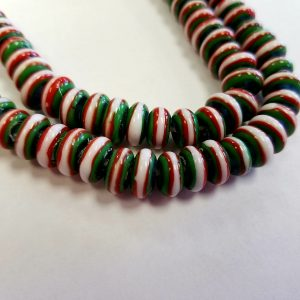 Glass Rondelle Lampwork Beads - Blue with Red, White,Green