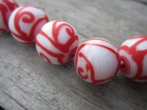 White with Red Lines Java Glass bead