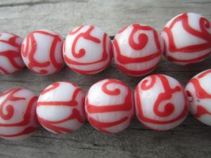 Red and White Java Glass Beads