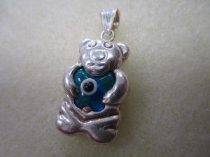 Evil Eye Sterling Silver Bear Pendant