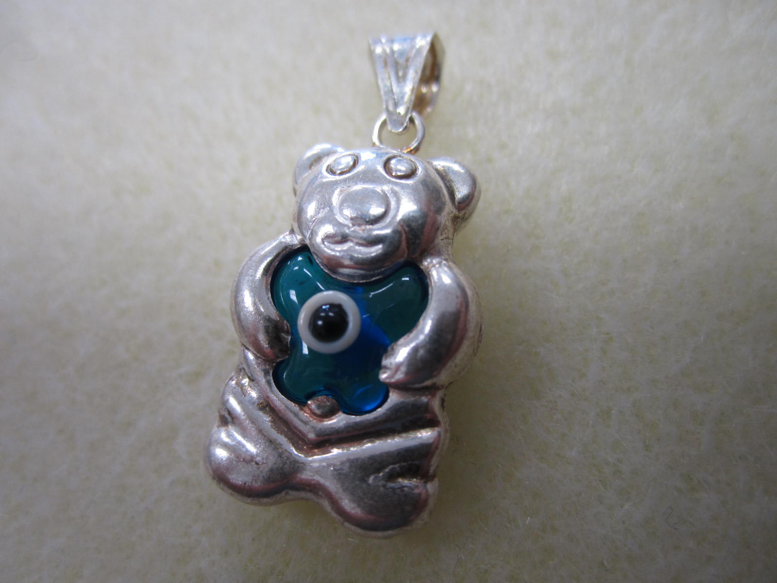 Evil eye sterling silver bear pendant bead world beads evil eye sterling silver bear pendant aloadofball Choice Image
