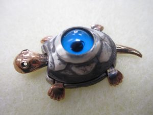 Evil Eye Turtle Pendant - Sterling silver with Bronze