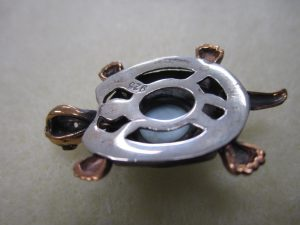 Evil Eye Turtle Pendant - Sterling silver with Gold Plate
