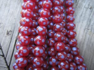 Indonesian Glass Maroon with Blue Dot-Picture3