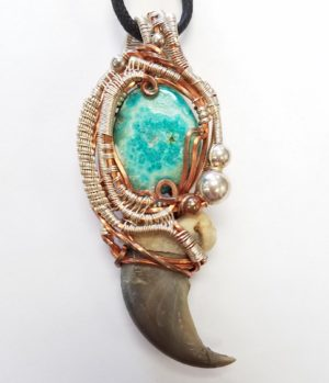chrysocolla and bear claw necklace