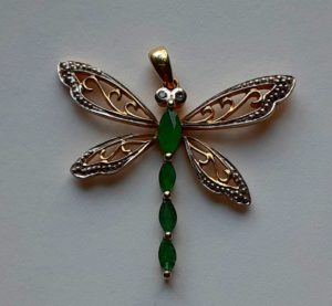 Emerald Dragonfly 10K and Silver