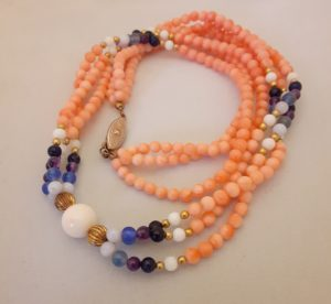 Angel Skin Coral with Gemstone Beads