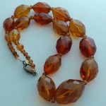 Vintage Glass Faceted Amber 17""