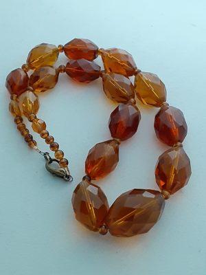 "Vintage Glass Faceted Amber 17"""